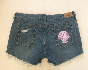 Vintage Levi Highwaisted Cut Off Distressed Denim Shorts with Mermaid Patch - Little Mermaid Inspired Disney Denim Shorts
