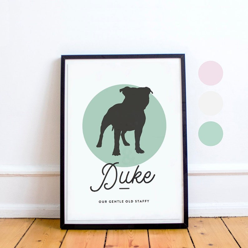 Staffie Dog Print with Custom Tagline & 3 Colours   Staffordshire Terrier    Print   Staffie Lovers Gift   Printable   Instant Download!