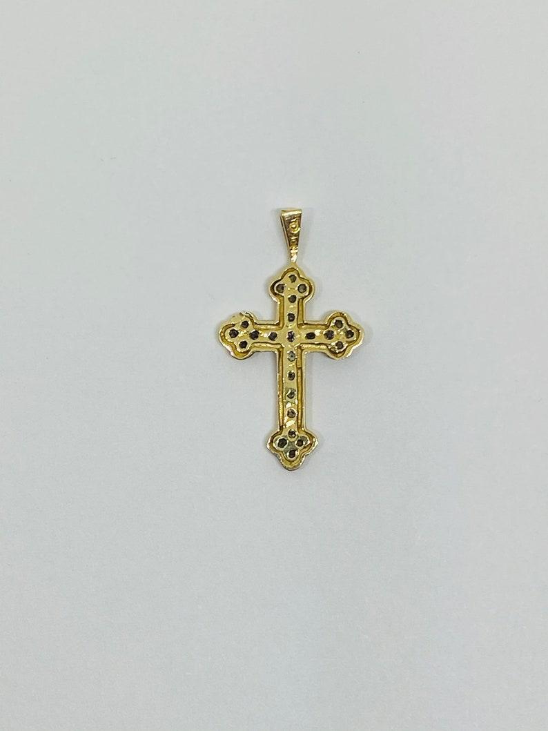 10K Yellow Gold Diamond Cross PendantCharm *VINTAGE*