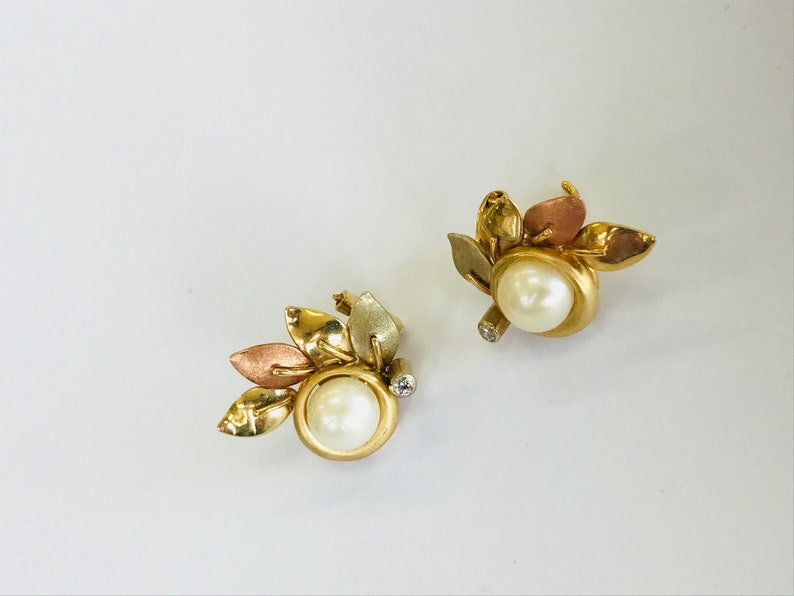 Pearl 14K Yellow and Rose Gold Diamond Stud Earrings *VINTAGE*