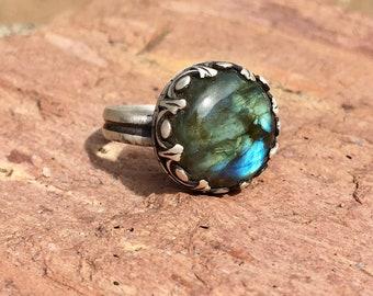 Sterling Silver Labradorite Ring sz 7.25