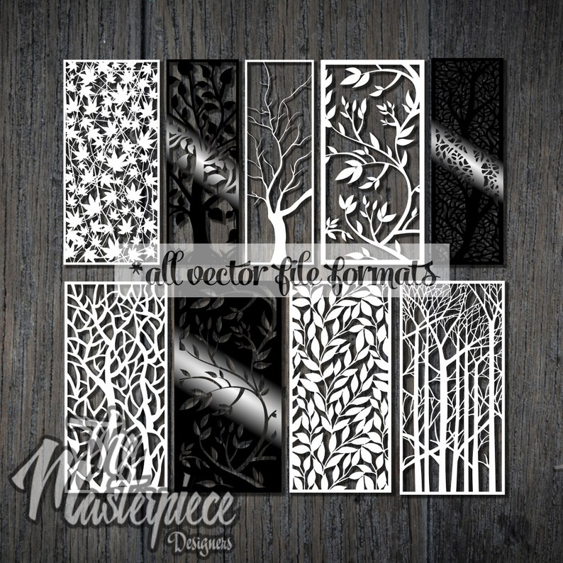 Vectors File 9 Pcs Pattern Tree Set Flowers Decorative Stained Glass  Screens Wooden plasma waterjet laser cut CNC File Corel Art SVG DWG