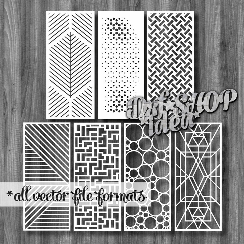 Vectors File 7 Pcs Pattern Set 3D Psychedelic Decorative Stained Glass  Screens Wooden plasma waterjet laser cut CNC File Corel Art SVG DWG