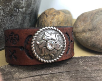 Western Style/Native American Themed Hand Stamped Leather Cuff with Silver Concho