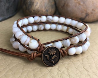 Simply Classic Beaded Leather Wrap Bracelet/Boho Wrap Bracelet