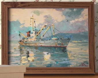 Evening fishing, Boats Painting, Impressionism Art, Landscape Painting, Ship Wall Art, Ocean Painting, Seascape Canvas, Fishing Art