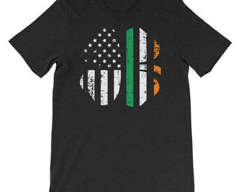 Shamrock Irish American Flag T-Shirt, Distressed St Patricks Day t-shirt for Saint Patricks day, Irish t-shirt gift for him or gift for her