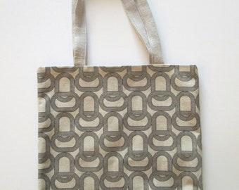 Grey and black totebag - pattern mesh - bag
