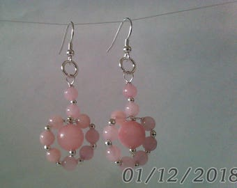 925 Sterling Silver and baby pink dyed Quartzite, hoop, dangle earrings