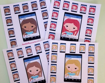 Video chat planner girl stickers