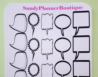 Text boxes black and white planner girl stickers