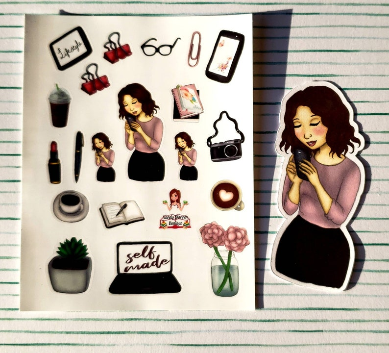 Phone girl planner girl stickers and die cut