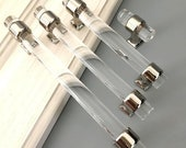 Clear Dresser Handles Cabinet Door Pulls Knob Acrylic Silver Chrome Dresser Drawer Pull Handles Knobs Crystal Look