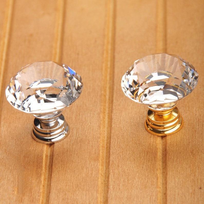 Crystal Knob / Glass Knobs Drawer Pulls / Dresser Knobs Gold image 0