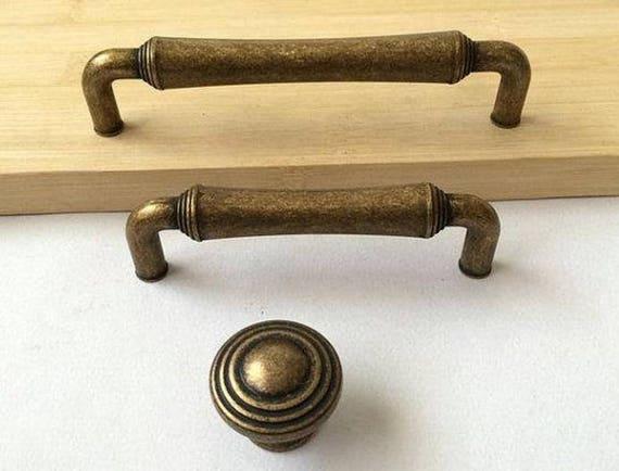 image 0 - Antique Brass Kitchen Cabinet Knobs Door Pull Handle Dresser Etsy