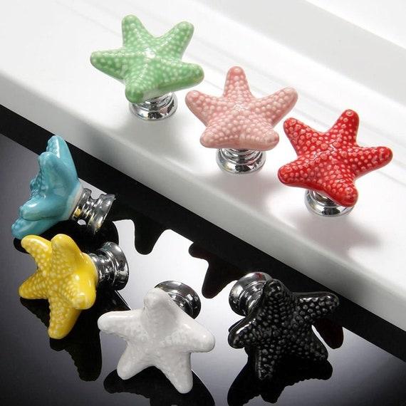 Colorful Starfish Knob Sea Star Nautical Drawer Knob Kids | Etsy
