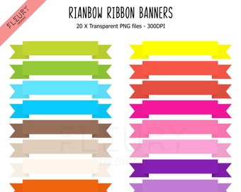 20 Ribbon Banner Clipart Set - Bright Colored Rainbow Ribbon Banner Fold Clip Art PNG High Resolution Illustration - Commercial Use