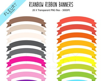 20 Arched Ribbon Banner Clipart Set - Bright Colored Rainbow Ribbon Banner Fold Clip Art PNG High Resolution Illustration - Commercial Use