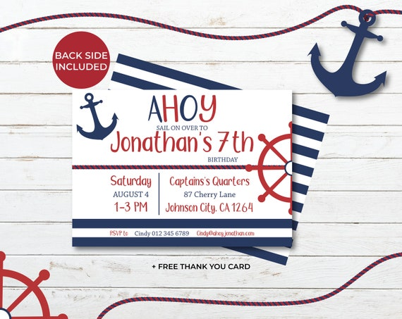 Sailor Birthday Invitation Nautical Boy Invite Ahoy