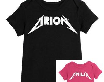 9bb33f189 Custom Name Rock Metallica Onesie Unisex Rock and Roll Metal Gift Toddler  Baby Pink Black