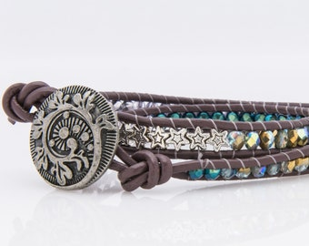 Czech glass and pewter leather wrap bracelet