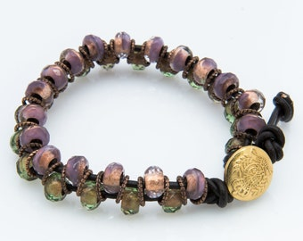 Glass, leather, and metal alternating bracelet