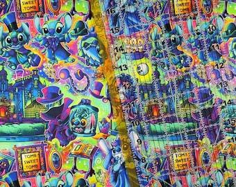 9 x 14 Cotton Lycra Tumbler Fabric Custom Stained Glass Villan