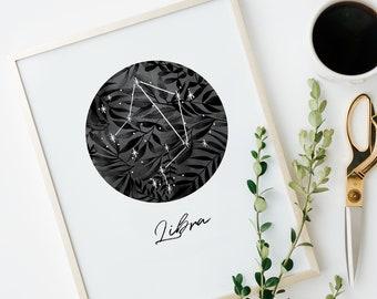 Libra Print - Libra Gift - Libra Star Sign - Libra Poster - Libra Wall Art - Libra Decor  - Libra Printable
