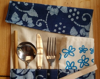 Zero-Waste Cutlery Wrap   Vintage Fabric   Travel Utensil Roll   Eat Out Without Plastic   Eco Friendly   Waste Free   Unisex Gift