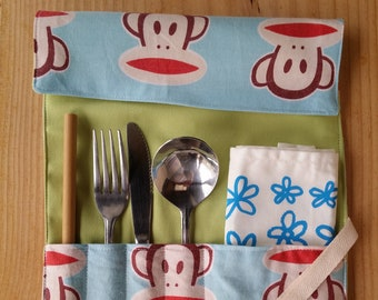 Zero Waste Cutlery Wrap   Paul Frank   Upcycled   Utensil Roll   Plastic Free   Eco Friendly   Waste Free   Gift