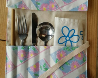 Ken Done fabric Zero-Waste Cutlery Wrap   Vintage Fabric   Travel Utensil Roll   Eat Out Without Plastic   Eco Friendly   Waste Free   Gift