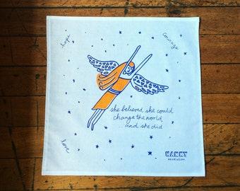 Hanky - Earth Angel. Eco-warrior, activist. Screen-printed, handmade hankies in Australia. Zero waste, vegan & cruelty free handkerchief.