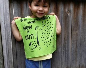 Hanky - Dinosaur. Kids + Adults. Screen-printed, handmade in Australia. Zero waste, vegan & cruelty free handkerchief.