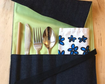 Zero-Waste Cutlery Wrap - Denim   Travel Utensil Roll   Eat Out Without Plastic   Eco Friendly   Waste Free   Travel