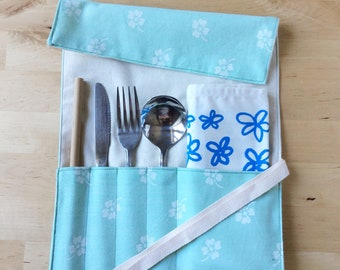 Zero-Waste Cutlery Wrap   Travel Utensil Roll   Eat Out Without Plastic   Eco Friendly   Waste Free   Travel