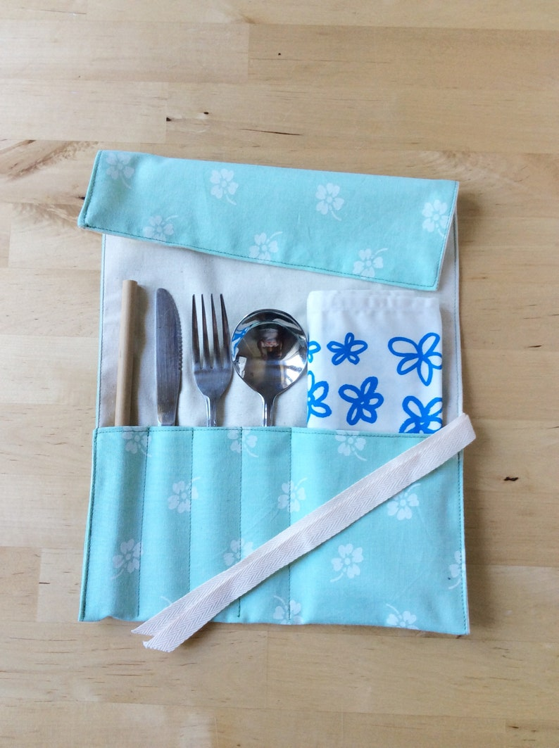 Zero-Waste Cutlery Wrap  Travel Utensil Roll  Eat Out image 0