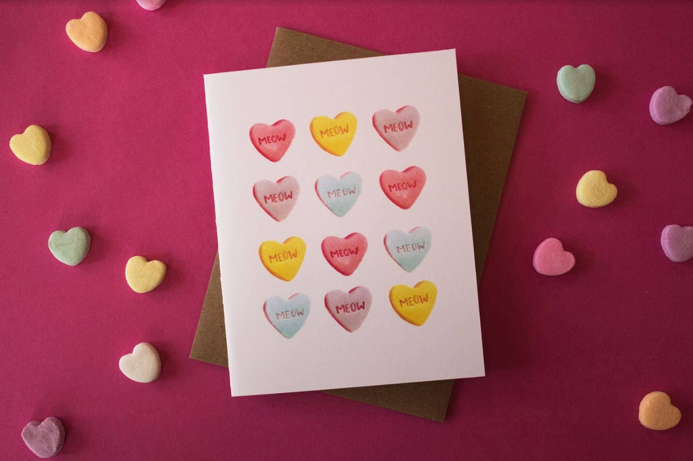 Meow Candy Hearts Cat Greeting Card Valentines Day Etsy