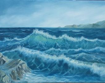 Before the storm, nautical, seascape, ocean art,waves,landscaping, seaside,ocean, Oil painting, evening,
