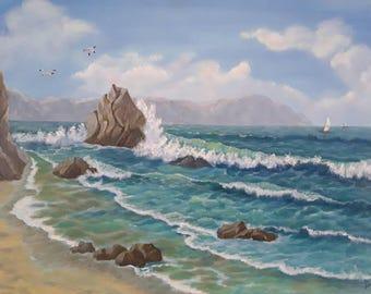 "12""×16""The black sea,landscaping, nature, seascape, Oceanside panoramic, ocean painting,"