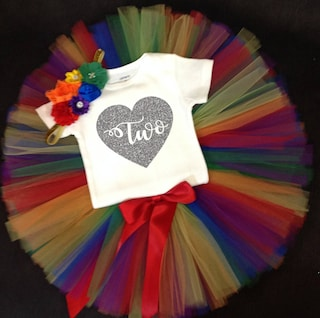 Rainbow Second Birthday Outfit, Girls Birthday Tutu, Second Birthday Girl Outfit, Birthday Tutu, 2nd Birthday Tutu Set, Birthday Tutu Outfit