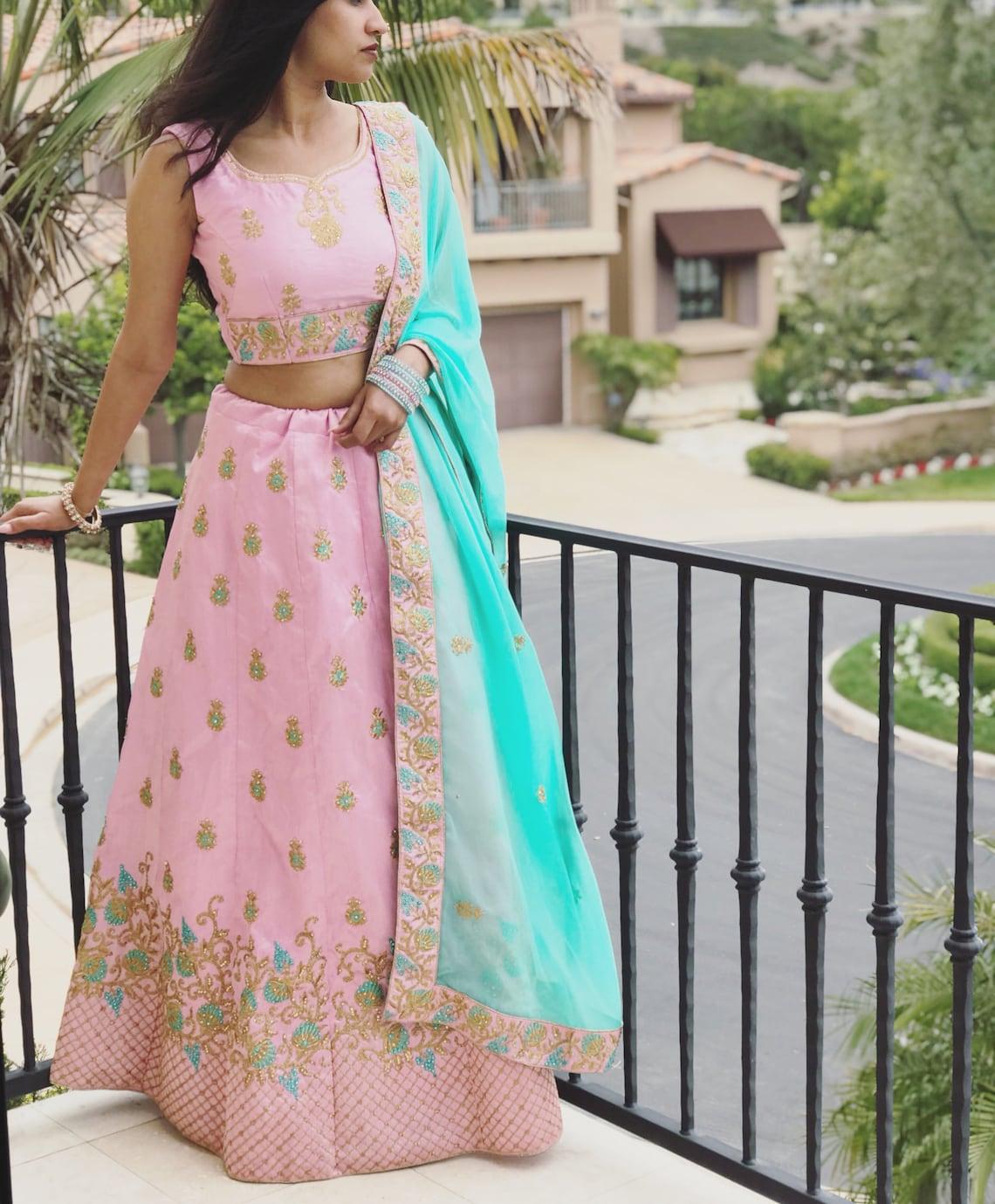 f6cc5e7f8d7af Women s Raw Silk Light Pink Indian Pakistani Lengha. Crop