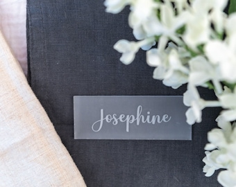 Frosted Acrylic Wedding Place Cards, Personalised Party Place Names, Engraved Rectangle Name Places, Guest Name Setting, White Wedding Décor