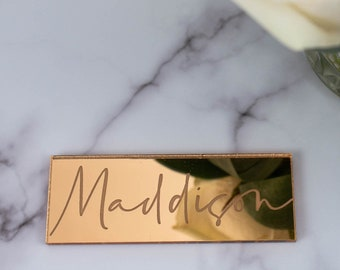 Personalised Wedding Place Cards, Gold, Silver Or Rose Gold Engraved Mirror Name Place, Luxury Wedding Décor, Guest Party Place Names