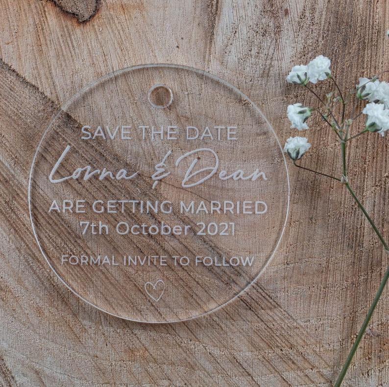 Acryl Save the Date Idee Hochzeit