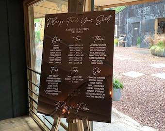 Mirror Acrylic Wedding Table Plan, Engraved Guest Seating Chart, Banqueting Seating Plan, Table Plan, Wedding Décor Rose Gold, Gold, Silver