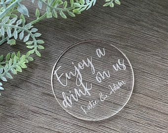 Personalised Wedding Favour, Drinks Token, Bespoke Favours, Free Drink Tokens For Guests, Favour Ideas, Table Décor, Engraved Acrylic Tokens