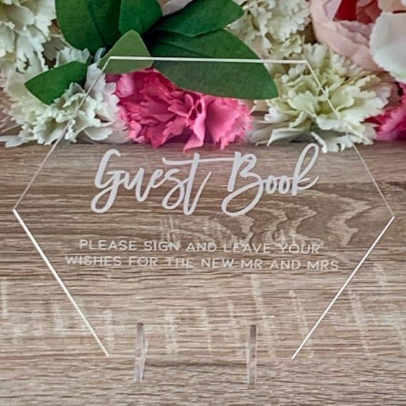 Guestbook Plaque Acrylic Wedding Sign Acrylic Wedding Guest Book Sign