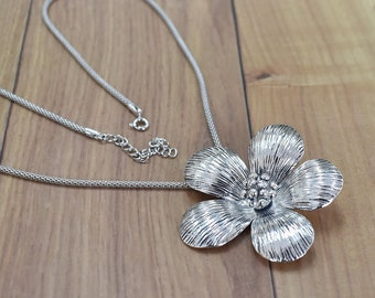 Thai Tribal Silver Flower Pendant Necklace - Asian Tribal Jewelry -Nature Lover Necklace Bohemian Necklace Gypsy Ethnic Chunky Pendant PCN44