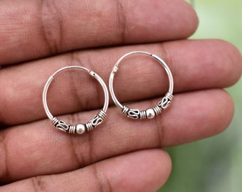 "18mm Sterling Silver Bali Style Hoop Earring -0 .70"" Silver Hoop Earring - Ethnic Hoop Earring - Tribal Hoop Earring - Boho Hoop -  PCH35"