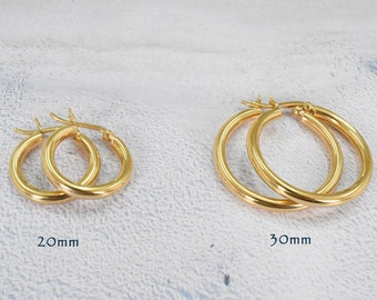 fb6d0a96d Chunky 18k Gold Filled Hoop Earring 3mm Thick Hoop - Lightweight Tube hoops  - Gold Hoops - Gold Latch Back Hoop - Small Medium Large Hoop
